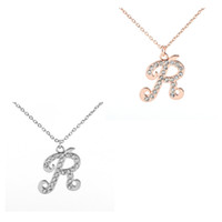 Wholesale Chain Letter R - Fashion Popular Style Silver and Gold Plated Link Chain With Rhinestone Letter R Pendant Necklace for Woman Gift Jewelry