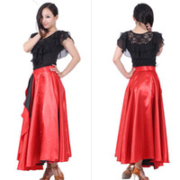 Wholesale Belly Dance Ruffled Skirts - Sexy Latin Dance Skirt 360 Degree Spanish Showing Fashion Belly Flamenco Dance Circle Big skirt Swing Opening Perform Costume Free Shipping