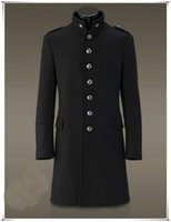 Wholesale Black Military Wool Trench Coat - Men Single Breasted Trench Coat Overcoat Jacket Wool Woolen Slim Fit Outerwear Winter Military Black Retro Vintage