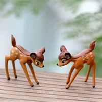 Wholesale Plastic Figurines Animals - Artificial mini sika deer fairy garden miniatures gnomes moss terrariums resin crafts figurines for home decoration accessories