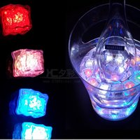 Wholesale Crystal Cube Lamps - Halloween Flash light Ice Cube Water-Actived Flash Led Light Square lamp Put Into Water Drink Flash Automatically for Party Wedding Bars