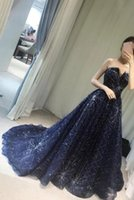Wholesale Night Dress Bridal - 2018 Castle Sexy Charming Wedding Dresses A Line V Neck Backless Sleeveless Sweep Train Beading Dark Navy Night Sparking Bridal Gowns