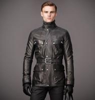 ingrosso cintura più calda-Ultimi giacche di pelle da uomo giacche di pelle da uomo con la parte superiore della coscia con una cintura per regolare la forma del corpo giacche invernali calde prima scelta