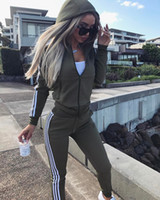 Wholesale Tights Striped Women - women leisure Striped zipper tight pullover in Europe and America green slim hooded coat Sport pantsuit