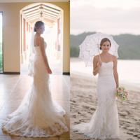 Wholesale Wedding Dresses Soft Elegant - 2016 Elegant Beach Wedding Dress Mermaid Style Soft Sweetheart Neckline Sleeveless Vintage Lace Appliques Bridal Gowns with Sweep Train