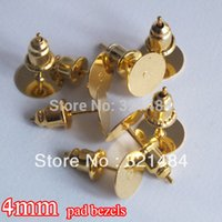 Wholesale Resin Bezels - wholesale 1000set lot gold plated 4mm pad bezels resin rose flower cabochon setting cameo base earring post with stoppers