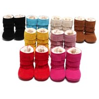 Wholesale White Newborn Snow Boots - 2016 Winter Fringe Suede Solid Baby Girls Boots Snow Shoes Fur Fleece Newborn First Walker Boys Boot Infant Shoe Moccasin Warmer