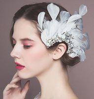 Wholesale Rhinestone Crystal Pin - Dream Wedding Bridal Feather Hair Flowers Crystal Rhinestone Bridal Hair Accessories Clip Pin 2016 June Style