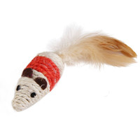 Wholesale Handmade Cat Toys - 2016 New Pet Cat playmate Handmade Hemp Rope Mice Mouse Toy Cat Weave Toy for Cat Molar Clean Teeth Color send Randomly