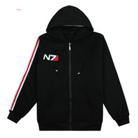 Wholesale mass effect hoodie - Game Mass Effect 3 N7 top Coat black Hoodies Mens Clothing cosplay Costume unisex cotton coats and jackets