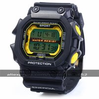 Wholesale-2016 30m Waterproo Multifunktionale Male LED-Sport-Uhr Round-Digital-Sport-Uhr mit Plastikband Wecker 83332G