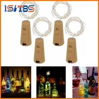 Wholesale Blue Glass Stopper - 2017 Hot 2M 20LED Lamp Cork Shaped Bottle Stopper Light Glass Wine LED Copper Wire String Lights For Xmas Party Wedding
