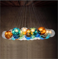 Wholesale Blue Glass Hanging Lamp - Modern LED glass chandeliers colorful glass pendant lighting g4 glass hanging lamps dining room living room bar pendant light