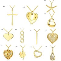 Wholesale Quality Heart Cross Necklace - Top Quality 18K Gold Plated Pendant Necklace Charm Chain Statement Jewelry Wholesale 12stlyes Mixed Cross Pentagram Leaf Heart Accessories