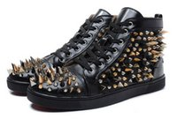 Ankle Boots spike studded boots - 2016 New Arrived Top Brand Genuine Leather Men Luxury Fashion long Rivets Spikes Studded Women Red Bottom Unisex Dress Shoes Sneakers