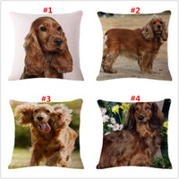 Wholesale Pillow Pet 18 - 18 inch cute pet dog pattern linen pillow cover home sofa square cushion cover