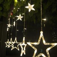 weiße vorhänge hochzeit dekoration groihandel-2.3M138LED Star Curtain String Licht 110V220V LED Eiszapfen Lichter Vorhang Weihnachten, Partys, Hochzeit, Festival Dekorationen Cool White