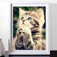 Wholesale Kitten Cross Stitch - DIY Diamond Painting Embroidery 5D Cute Kitten Cat Cross Stitch Crystal Square Unfinish Home Bedroom Wall Art Decoration Decor Craft Gift