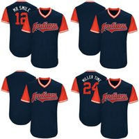 """Wholesale Indian Series - 24 Andrew Miller """"Miller Time"""" Francisco Lindor """"Mr. Smile"""" Cleveland Indians Jersey 2017 Little League World Series Players Weekend Jersey"""
