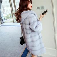 Wholesale Big Hood Woman - Women Winter Hooded Fake Fur Coats Plus Size 3XL 2017 New Vintage Artificial Black Faux Fox Fur Coat With Hood Big Size