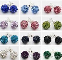 Wholesale Diy Ball Earrings - new 30 Pairs lot 10mm Jewelry shamballa hot new Rhinestone Mix Colors white New disco Ball beads clay Shamballal Crystal Earrings Stud DIY