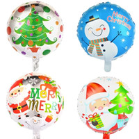 Wholesale Outdoor Christmas Balloons - 4 Design Christmas Balloons 18'' Indoor Outdoor Navidad Decoration Santa Claus Snowman Elk Helium Balloons Festive Party Supplies