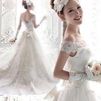 Wholesale Royal Korean Princess - Royal Princess Bride word shoulder lace wedding dress, long tail wedding,Korean princess wedding