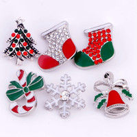 weihnachten snap armbänder großhandel-20 stücke 18mm Druckknopf Weihnachten Snap Chunk Button 5 Mischarten Diy Austauschbare Schmuck Fit Noosa Armband