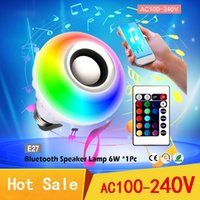 Wholesale Smart Home Audio Wholesale - Intelligent E27 LED White + RGB Light Ball Bulb Lamp Smart Music Audio Bluetooth 3.0 Speaker with Remote Control for Home Stage