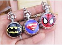 Wholesale Universe Black - DC Universe Superman batman spiderman Superhero Fashion Pocket Watch Necklace Free Shipping 1pcs lot