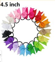 Wholesale Baby Hair Pony Tails - 15% off! 20pcs lot 4.5 inch Cheerleading Bows elastic band Pony Tail Holder Ribbon pinwheel Bow hair bands Gift baby headband 196 colors