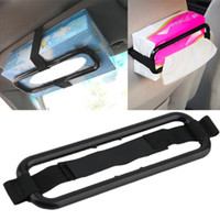 Wholesale Car Tissue Holder Wholesale - Multifunctional Tissue Paper Box Holder Cover Auto Accessories Paper Napkin Seat Back Bracket Car Styling Sun Visor Louver Shield Stand Belt