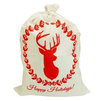 Wholesale Christmas Decoration Patchwork - Christmas Santa Sack Deer Drawstring High Quality Santa Bag New Year Christmas Decorations for Home Stockings Gift Bag beam pocket