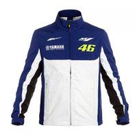 Wholesale Men S Moto Jacket - 2017 Men Windproof Windbreaker MTB Motocross Motorcycle Jackets Rossi VR46 Yamaha Dual M1 Racing Team Moto GP Soft Shell Jacket Blue-White