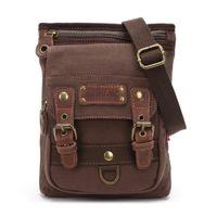 Wholesale Briefcase School - Durable Men's Messenger Rugged Canvas Leather School Bag Book Bag Canvas Shoulder Bag Briefcase Outdoor Travelling Hiking Satchel Bag