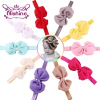 Wholesale infant girl headwraps - Nishine Baby Chiffon Bow Headbands Girl Headwraps Infant Children Hair Accessories Newborn Bowknot Hairband Baby Photography Props