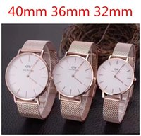 Wholesale Watch Couple Rose Gold - Daniel Wellington's watches couples lovers fashion rose gold men and women dw watches with stainless steel mesh band montre femme relojes