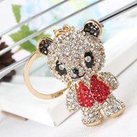Panda Saia Red Arm Head Move Pendant Charm Cute Rhinestone Crystal Purse Bag Car Key Ring Cadeia Jóias Gift