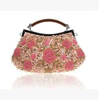 Wholesale Ladys Evening Dresses - Classic Vintage Beaded Flower Embroidered Evening Bags Fashion Ladys Dress Handbags 3D Embroidery Small Shoulder Bags Hobos National Style