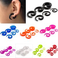 Wholesale Ear Plug Tunnel Spiral Fake - 12Pcs Set Acrylic Spiral Ear Stretching Tapers Punk Body Jewelry Fake Ear Expander Plug Tunnel Kit For Women Men