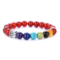 Wholesale Wholesale Yoga Jewelry - 7 Chakra Silver Plated Buddha Beaded Bracelets Fashion stone Charm Jewelry 8mm Yoga Energy Bracelet Bangles Gold,Sliver Unisex Lava Bracelet