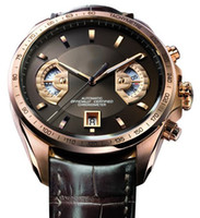Wholesale Brand Ss - Leather Calibre 17 Rose Gold SS Top luxury brand Men's Mechanical Automatic Movement Watch Sports men Self-wind Watches tag Wristwatche