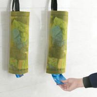 bolsa de basura de plástico titular al por mayor-Titular de la bolsa de plástico y dispensador de poliéster rejilla transparente para colgar bolsas de basura de baño bolsa de almacenamiento de cocina compras de comestibles herramienta WX9-82