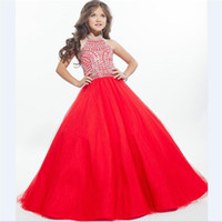 Wholesale Hot Pink Dresses For Kids - 2016 Hot Ritzee Crystals Girls Pageant Dresses for Kid A Line Halter Beaded Backless Sweet Girls Gowns for Party Communion Gown