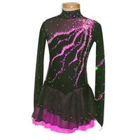 Wholesale Girls Figure Skating - New Collection Modern Jewel Neck See Through Long Sleeve Figure Skating Dresses Custom Made Female Ice Skating Spandex Dress Hot Selling