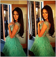 Wholesale Evening Fully Beaded - Sparkly Luxury Beaded Crystal Short Prom Party Cocktail Dresses 2016 Green Fully Feather Short Mini Max Dress Party Evening Wear