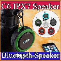 Wholesale Sports Mini Box Sound Speaker - Mini Bluetooth Speaker C6 IPX7 Outdoor Sports Shower Waterproof Wireless Speaker Suction Cup Handsfree MIC Voice Box For iPhone HTC I-YX