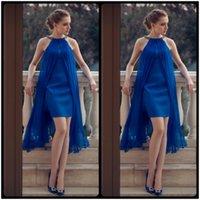 Wholesale Elegant Mini Formal Dresses - Elegant Royal Blue Short Prom Dresses 2017 Scoop Neck Chiffon Women Pageant Dresses For Formal Cocktail Party Gowns vestido de festa