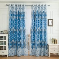 Wholesale Glass Door Beads - Glass Beads Curtain Luxury Blackout Curtain Embroidered Voile for Living Room Bedroom Blue Superior Quality Jacquard Decoration
