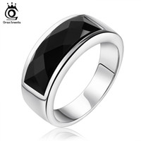 Wholesale Banded Agate Jewelry - Orsa Jewelry New Arrival,Wholesale Titanium Ring,Black Agate Wholesale Ring For Girl Stainless Steel Ring OTR05